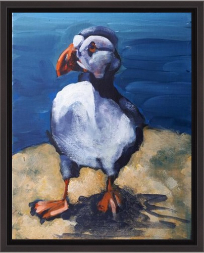 image of patrolling puffin painting