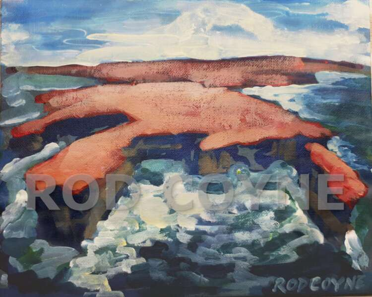 "An image of Rod Coyne's dramatic seascape painting entitled ""Downpatrick Redhead"" in high resolution with watermank."