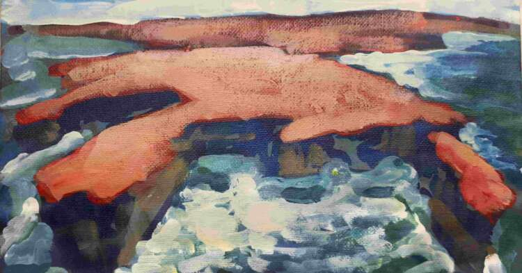 """An image of Rod Coyne's dramatic seascape painting entitled """"Downpatrick Redhead"""" cropped for Facebook."""