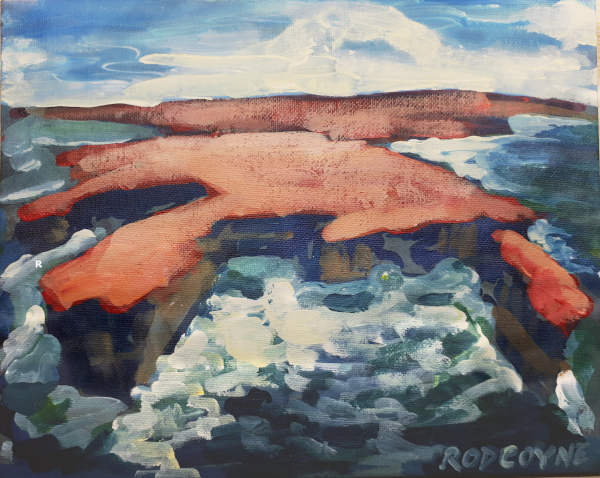 "An image of Rod Coyne's dramatic seascape painting entitled ""Downpatrick Redhead"""