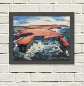 "An image of Rod Coyne's dramatic seascape painting entitled ""Downpatrick Redhead"" framed on a rough white wall."