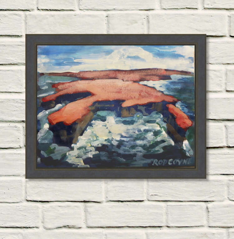 """An image of Rod Coyne's dramatic seascape painting entitled """"Downpatrick Redhead"""" framed on a rough white wall."""