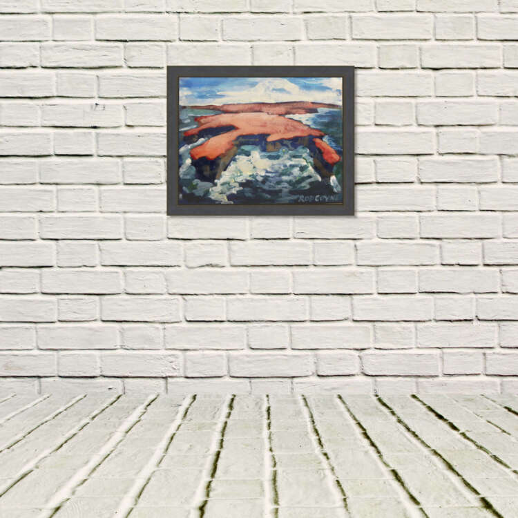 "An image of Rod Coyne's dramatic seascape painting entitled ""Downpatrick Redhead"" displayed in a white room."