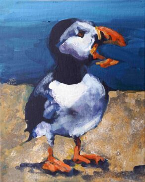 "Image of ""Preaching Puffin"" a painting by Rod Coyne, unframed original."