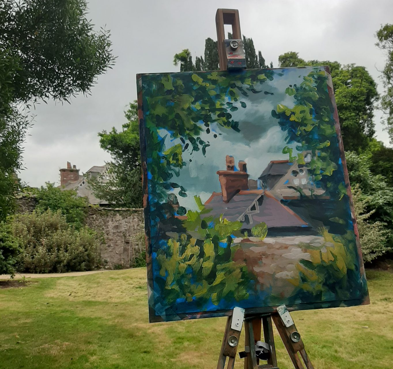 Photo of painting demo at our first Covid 19 workshop for Avoca Painting School.