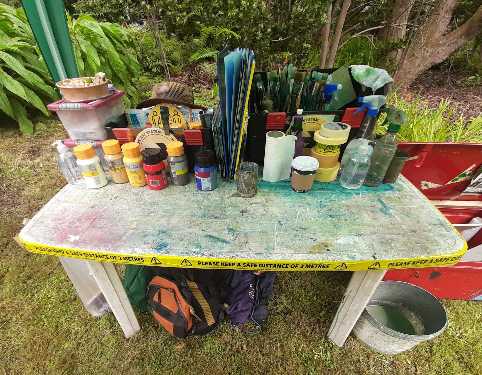 Photo of Civid 19 setup for Avoca Painting School.