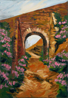 painting of Tram bridge in Avoca mines, by artist rod coyne