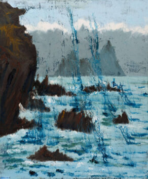 "artist rod coyne's painting ""skelligs, island cathederal"" is show here"