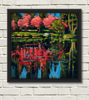 "artist rod coyne's ""rowdy rhodies"" painting as canvas print displayed in a black frame on a white wall"