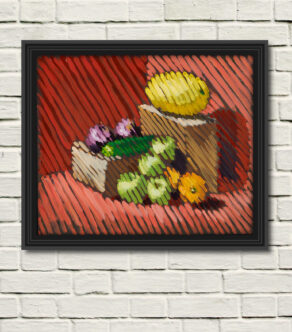artist rod coyne's diagonal still life painting as canvas print displayed on a white wall in a black frame