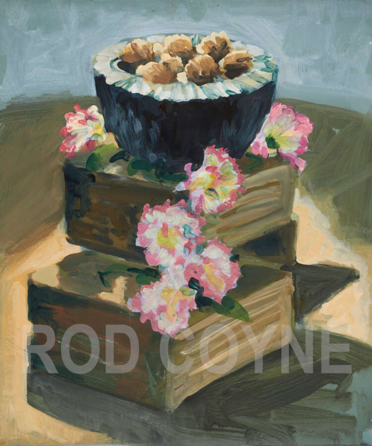 """artist rod coyne's still life painting""""walnuts & carnations"""" is shown here, watermarked."""