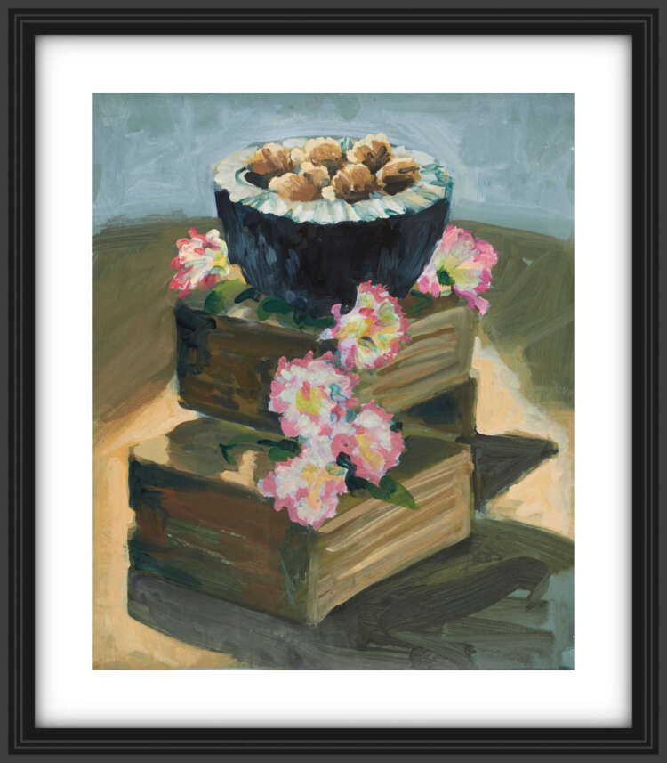 """artist rod coyne's still life painting""""walnuts & carnations"""" is shown here, on a white mount in a black frame."""