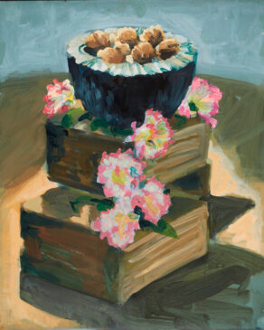 Walnuts & Carnations still life painting by rod coyne