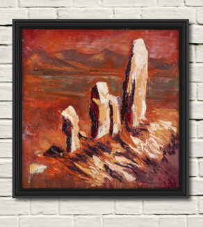 "artist rod coyne's painting ""moon stone mirage"" is shown here in a black frame on a white wall"