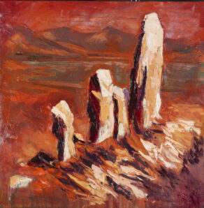 "artist rod coyne's painting ""moon stone mirage"" is shown here."