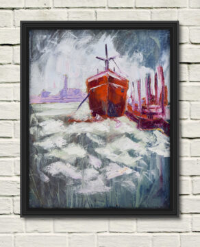 artist rod coyne's hot hull painting shown here as a canvas print on a white wall in a black frame