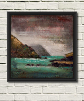 mist at ladys ruff painting shown here in a black frame on a white wall