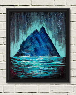 """a canvas print of rod coyne's painting """"Skellig-Phospheresence"""" displayed on a white wall in a black frame"""