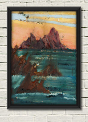 "a canvas print of rod Coyne's painting ""skellig blush"" is shown here"