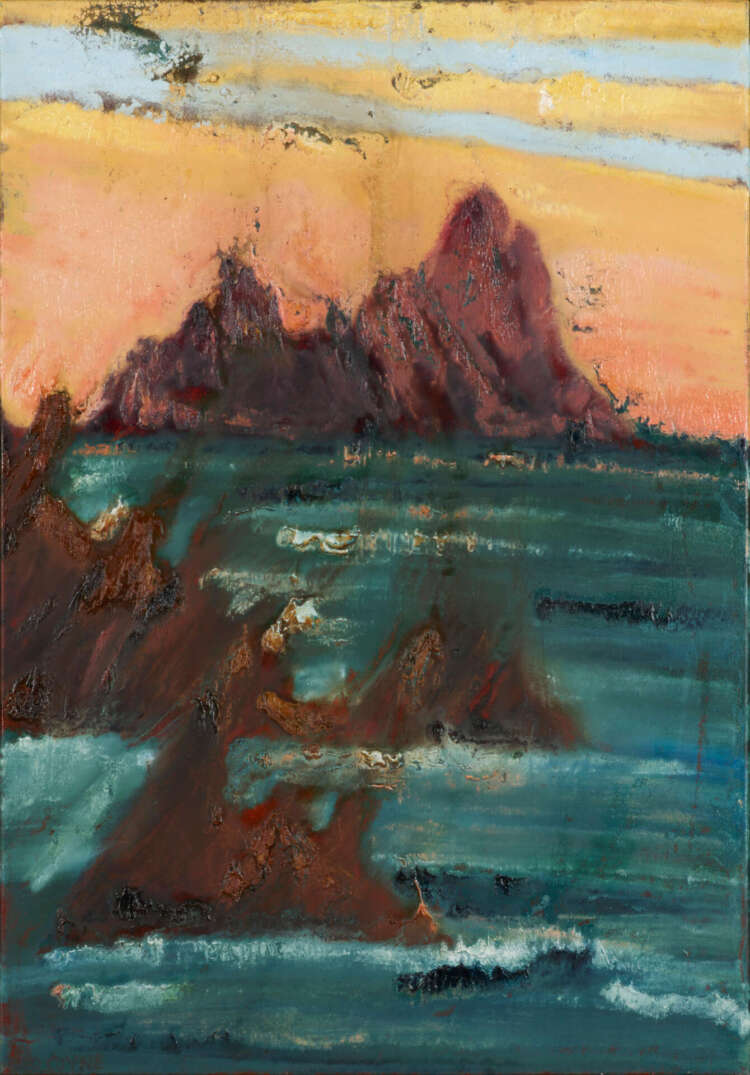 """rod coyne's painting """"skellig blush"""" is shown here"""