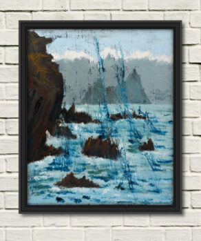 """Rod Coyne's painting """"Island Cathederal 100x120cm shown here as a canvas print"""