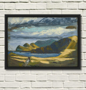 "artist rod coyne's painting ""three sisters"" is shown here, reproduced as a canvas print"