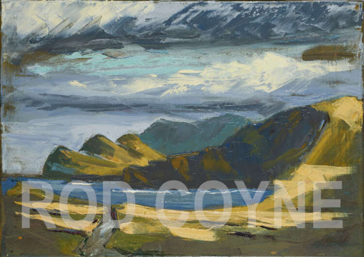 """artist rod coyne's painting """"three sisters"""" is shown here with a watermark"""