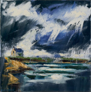 "artist rod coyne's painting ""Kilmore Quay Light Storm"" is shown here"
