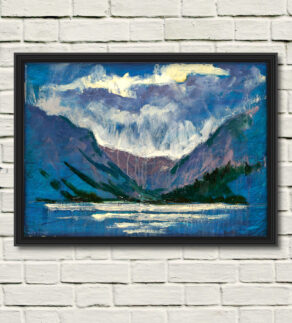 "artist rod coyne's painting ""glendalough, upper lake"" is shown here, reproduced as a canvas print"