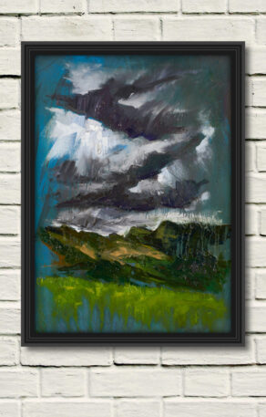 "artsit rod coyne's painting ""langdale pikes"" is shown here, reproduced as a canvas print"