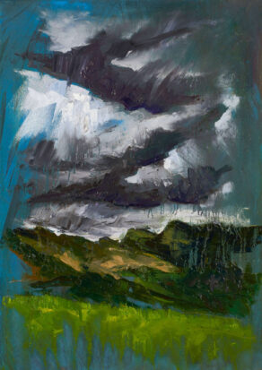 "artsit rod coyne's painting ""langdale pikes"" is shown here"