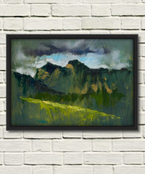 "artist rod coyne's painting ""pike and harrison stickle"" is shown here, reproduced as a canvas print in a black frame on a white wall"