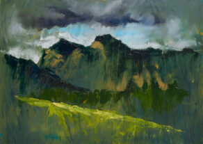 "artist rod coyne's painting ""pike and harrison stickle"" is shown here"