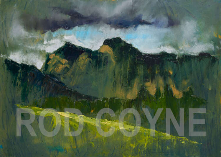 """artist rod coyne's painting """"pike and harrison stickle"""" is shown here, watermarked."""