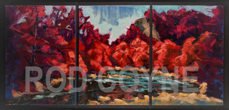 artist rod coyne's triptych painting is shown here, watermarked.