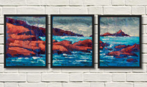 "artist rod coyne's triptych painting ""Puffin sound"" is shown here, as a canvas print in three seperate framed panels."
