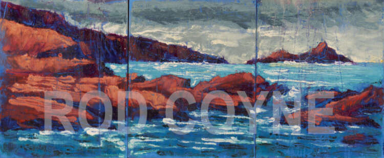 """artist rod coyne's painting """"Puffin sound"""" is shoen here, watermarked."""