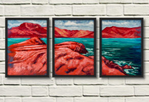 "artist rod coyne's painting ""Across Ballinskelligs Bay"" is shown here as triptych canvas print, in three individual black frames on a white wall"