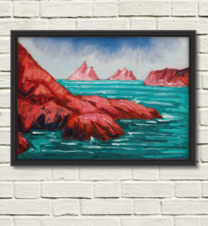 "artist rod coyne's painting ""Hogs Head, Bolus & Skelligs"" is shown here as a canvas print, in a black frame on a white wall"