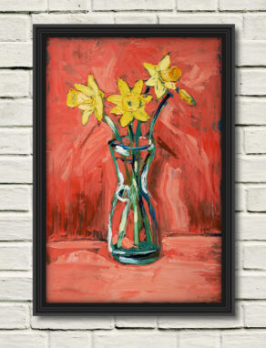 "artist rod coyne's still life painting ""daffodils"" is shown here, in a black frame on a white wall."