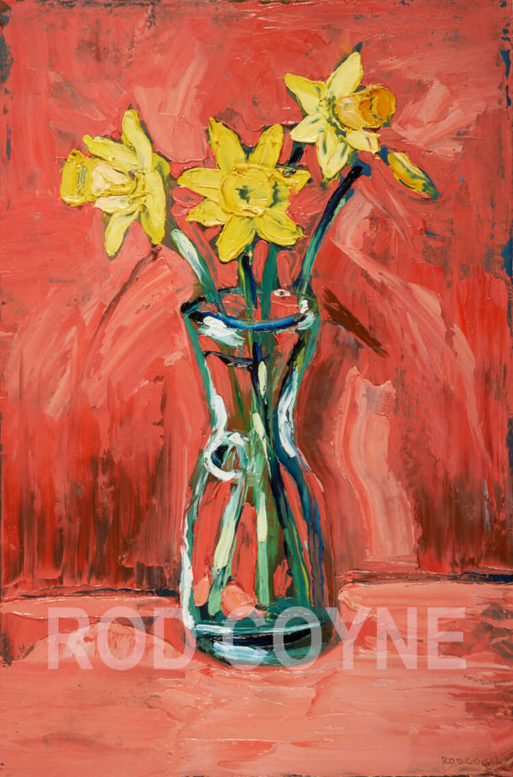 """artist rod coyne's still life painting """"daffodils"""" is shown here, high definition and watermarked."""