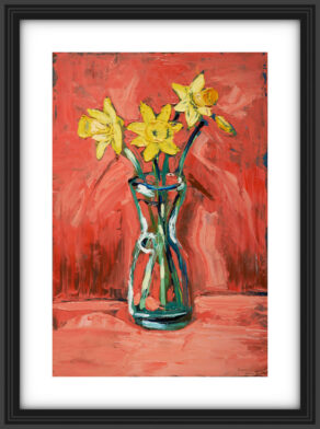 "artist rod coyne's still life painting ""daffodils"" is shown here, in a black frame with a white mount."