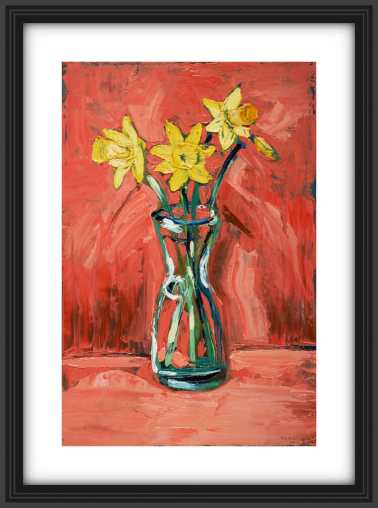 """artist rod coyne's still life painting """"daffodils"""" is shown here, in a black frame with a white mount."""