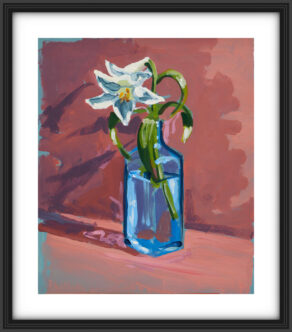 "artist rod coyne's still life painting ""gin lilies"" is shown here, on a white mount in a black frame."