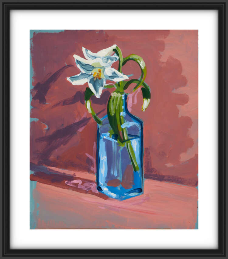 """artist rod coyne's still life painting """"gin lilies"""" is shown here, on a white mount in a black frame."""