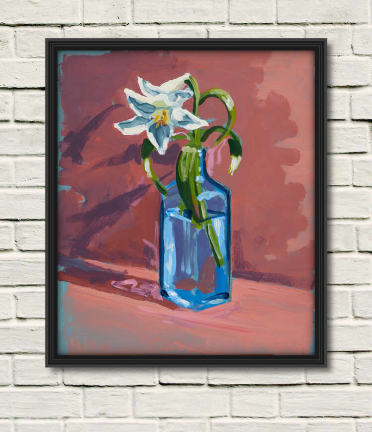 """artist rod coyne's still life painting """"gin lilies"""" is shown here, as a canvas print in a black frame on a white wall."""