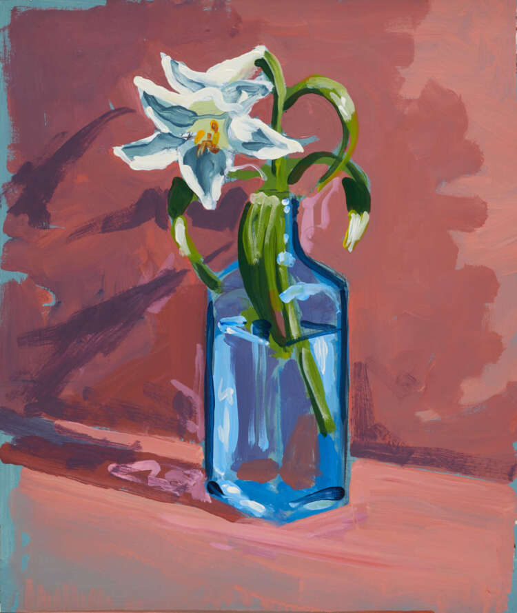 """artist rod coyne's still life painting """"gin lilies"""" is shown here."""