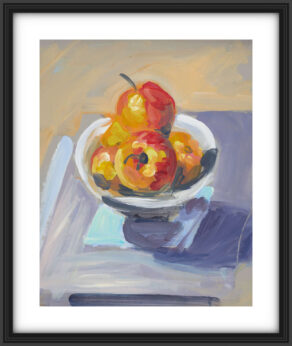 "artist rod coyne's still life painting ""apple bowl"" is shown here, in a black frame on a white mount."