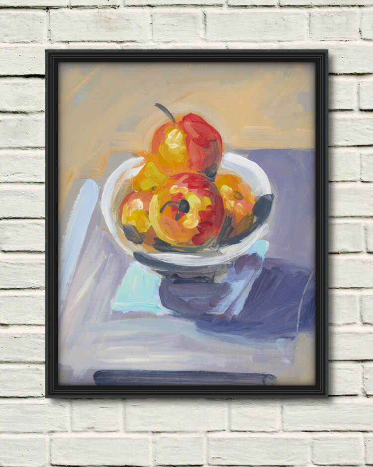 """artist rod coyne's still life painting """"apple bowl"""" is shown here, as a canvas print in a black frame on a white wall."""