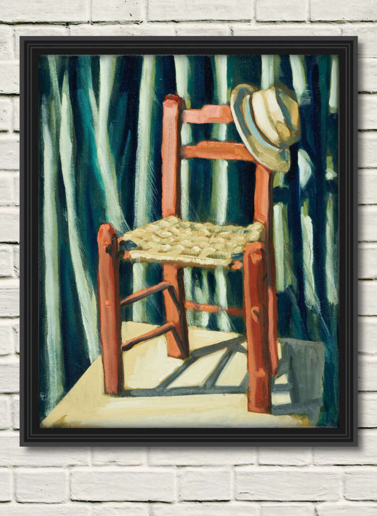 """artist rod coyne's still life canvas print """"bockady chair"""" is shown here in a black frame on a white wall."""